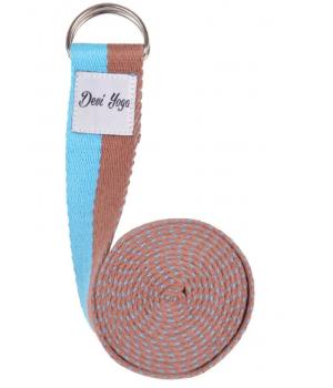 Ремень для йоги Devi Yoga 200*3,8 см - коричнево-голубой