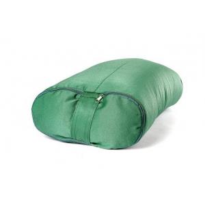 Болстер для йоги с гречишной лузгой из хлопка, ПЭ и бязи 60 см зеленый