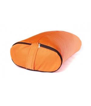 Болстер для йоги с гречишной лузгой из хлопка, ПЭ и бязи 60 см оранжевый