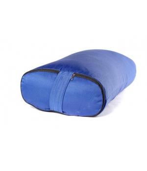 Болстер для йоги с гречишной лузгой из хлопка, ПЭ и бязи 60 см синий