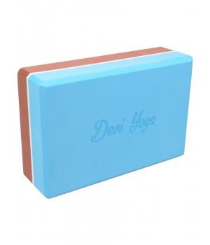 Блок для йоги из EVA Devi Yoga 23*15*7,5 см - Коричнево-голубой