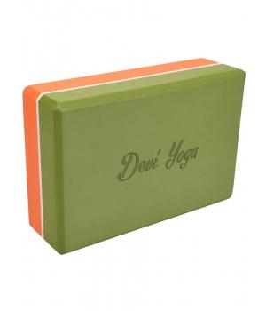 Блок для йоги из EVA Devi Yoga 23*15*7,5 см - Оранжево-зеленый