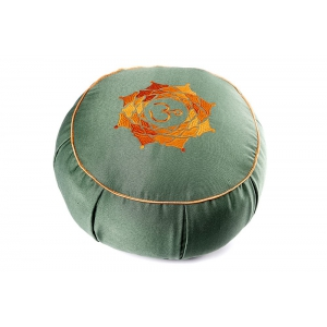 """Подушка для медитации из гречишной шелухи """"Ом"""" 30см 15см зеленая"""