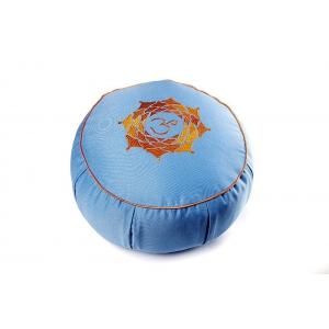 """Подушка для медитации из гречишной шелухи """"Ом"""" 30см 15см голубая"""