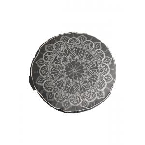 """Подушка для медитации из гречишной лузги """"Мандала"""" 33*16 см - Cерая"""