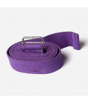 Ремень для йоги из хлопка 270см 4см фиолетовый