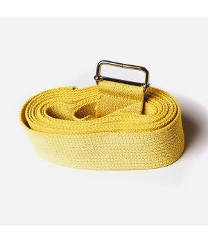 Ремень для йоги из хлопка 270см 4см желтый