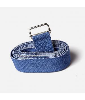 Ремень для йоги из хлопка 270см 4см синий