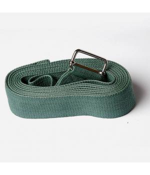 Ремень для йоги из хлопка 270см 4см зеленый