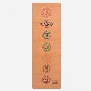 Коврик для йоги Yoga Club Chakras из пробки и каучука 183*61*0,3 см